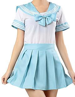 """billige Halloweenkostymer-Inspirert av Sailor Moon skole~~POS=TRUNC Anime  """"Cosplay-kostymer"""" Cosplay Klær Stripet Kortermet Trøye / Skjørte Til Jente Halloween-kostymer"""