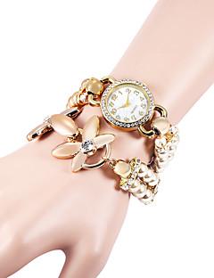 女性用 ブレスレットウォッチ ダミー ダイアモンド 腕時計 模造ダイヤモンド クォーツ Plastic バンド 真珠 エレガント腕時計 白 カーキ