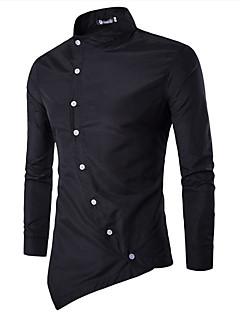 billige Herremote og klær-Bomull Tynn Opprett krage Skjorte Herre - Ensfarget Chinoiserie