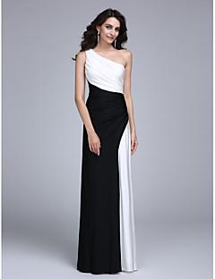 billige Mønstrede og ensfargede kjoler-Tube / kolonne Enskuldret Gulvlang Jersey Fargeblokk Formell kveld Kjole med Sidedrapering av TS Couture®
