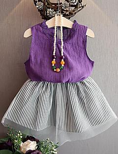billige Tøjsæt til piger-Pige Tøjsæt Daglig I-byen-tøj Stribet, Rayon Polyester Sommer Uden ærmer Kortærmet Afslappet Gade Sort Lilla