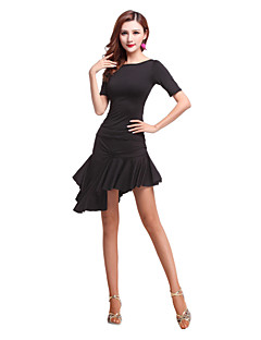 cheap Latin Dance Wear-Latin Dance Outfits Women's Performance Spandex Ruffles Short Sleeve Natural Top Skirt