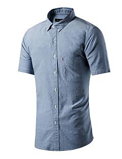 男性 カジュアル/普段着 夏 シャツ,シンプル シャツカラー ソリッド ピンク ホワイト グレイ グリーン コットン 半袖 ミディアム