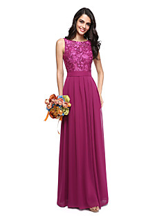 cheap Long Bridesmaid Dresses-A-Line Jewel Neck Floor Length Chiffon Lace Bodice Bridesmaid Dress with Sash / Ribbon by LAN TING BRIDE®