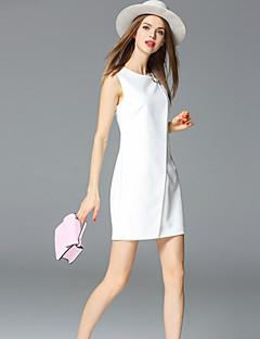 frmz kadın basit kılıf dresssolid yuvarlak boyun Mini kolsuz orta yükselişi inelastik orta çıkıyor