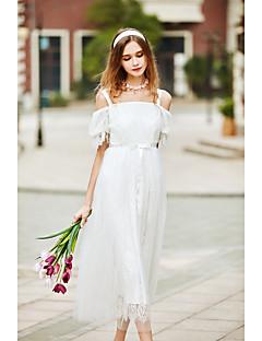 Χαμηλού Κόστους BLUEOXY-Γυναικεία Φαρδιά Φόρεμα - Μονόχρωμο Μίντι