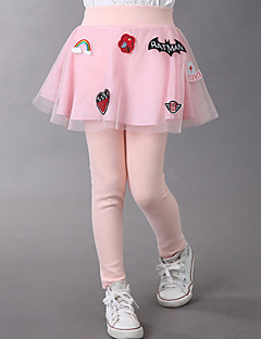 Girl's Fashion Cotton Spring/Fall Casual/Daily/Going out Lace Patchwork Divided Skirt Children Embroidery Cartoon Pants