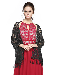 cheap Wedding Wraps-Cashmere Sequined Wedding Party Evening Women's Wrap With Sequin Tassel Shawls