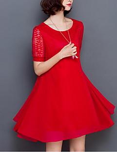 女性 シンプル プラスサイズ お出かけ ルーズ スウィング ドレス,ソリッド フラワー ラウンドネック 膝丈 半袖 レッド ブラック コットン 夏 ミッドライズ 伸縮性なし ミディアム
