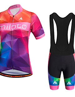 cheap Cycling Jersey & Shorts / Pants Sets-Miloto Women's Short Sleeves Cycling Jersey with Bib Shorts - Red Bike Shorts Bib Shorts Bib Tights Jersey, Quick Dry, Breathable,