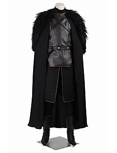 halpa -Valtaistuinpeli Jon Snow Cosplay-Asut Naamiaisasu Juhla-asu Halloween Props Elokuva Cosplay Musta Liivi Toppi Housut Käsineet Esiliina