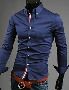 Herren Hemd-Einfarbig Freizeit Baumwolle Lang Schwarz / Blau / Rot / Weiß