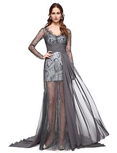 billiga Kändisklänningar-A-linje V-hals Svepsläp Chiffong Formell kväll Klänning med Spets Plisserat av TS Couture®
