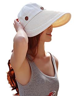 Feminino De Palha Chapéu de sol Feminino Casual Verão Algodão Palha