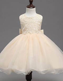 Ball Gown Knee-length Flower Girl Dress - Organza Jewel with Bow(s)