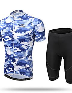 XINTOWN Sykkeljersey med shorts Herre Kort Erme Sykkel Jersey ShortsFort Tørring Forside Glidelås Pustende Myk Komprimering 3D Pute