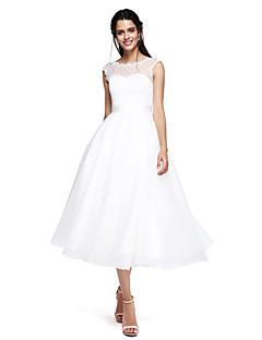 Haine Bal Bijuterie Lungime Tea Tulle Seară Formală Rochie cu Arc Eșarfă / Panglică de TS Couture®