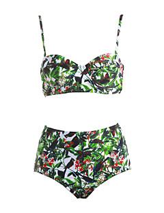 billige Bikinier og damemote 2017-Dame Blomster Grime Bikinikjole - Trykt mønster / Sexy