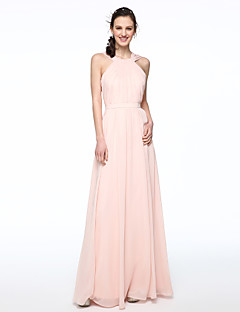 A-Line Jewel Neck Floor Length Chiffon Bridesmaid Dress with Sash / Ribbon Pleats by LAN TING BRIDE®