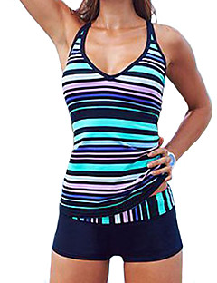 Women's Bandeau Tankini Color Block Polyester Striped
