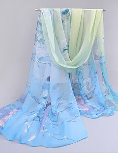 Women Chiffon Thin Scarf Cute Party Casual Rectangle Blue Pink Purple Orange Print
