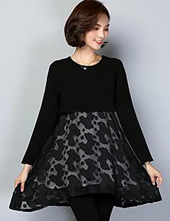 billige plusstørrelser-Dame Plusstørrelser Swing Kjole - Ensfarvet, Net Trykt mønster Over knæet