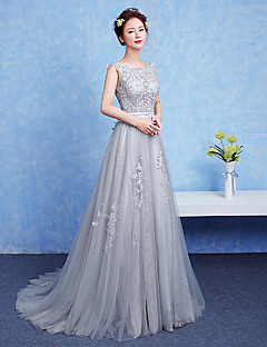 α-γραμμή λαιμό δαντέλα πάτωμα δαντέλα μήκος επίσημη φόρεμα βράδυ με φύλλο / κορδέλα