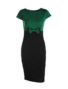 Γυναικείο Καθημερινά Δουλειά Απλό Κομψό στυλ street Θήκη Φόρεμα,Συνδυασμός Χρωμάτων Κοντομάνικο Στρογγυλή Λαιμόκοψη Ως το Γόνατο