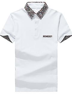 男性 お出かけ カジュアル/普段着 ビーチ 夏 Polo,シンプル ストリートファッション 活発的 シャツカラー ソリッド パッチワーク ホワイト グレイ コットン スパンデックス 半袖 ミディアム