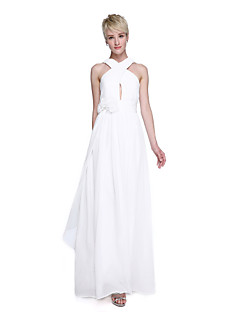 cheap Long Bridesmaid Dresses-A-Line Straps Floor Length Chiffon Bridesmaid Dress with Flower Ruched Criss Cross by LAN TING BRIDE®
