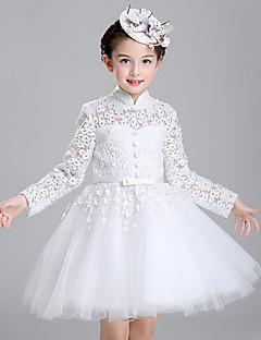 ieftine -rochie de bal rochie lungime floare fată rochie - bumbac lung mâneci gât mare cu pliuri de lovelybees