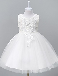 cheap Communion Dresses-Ball Gown Knee Length Flower Girl Dress - Organza Sleeveless Jewel Neck with Lace by YDN