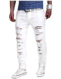 お買い得  メンズパンツ&ショーツ-男性用 スリム スリム チノパン ジーンズ パンツ - 引き裂かれました, ソリッド