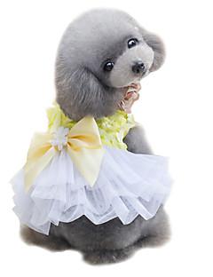 billiga Hundkläder-Hund Smoking Klänningar Hundkläder Rosett Gul Rosa Chiffong Kostym För husdjur Gulligt Mode Bröllop