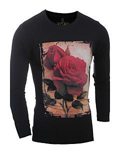 お買い得  メンズ トップス-男性用 プリント Tシャツ ラウンドネック ソリッド コットン