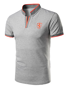 Men's Daily Sports Casual Summer Polo,Solid Stand Short Sleeves Cotton