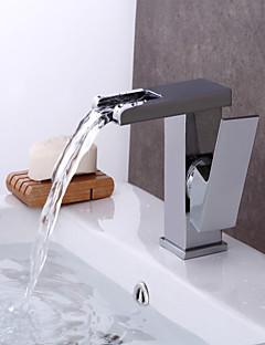 tanie Wodospad-Bateria Wannowa - Wodospad Chrom Umieszczona centralnie Pojedynczy uchwyt jeden otwór