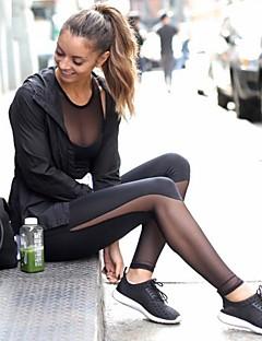 billiga Träning-, jogging- och yogakläder-Dam Genomskinlig Yoga byxor sporter Mode Mesh, Lycra Hög midja Byxa Löpning, Fitness, Gym Sportkläder Andningsfunktion, Kompression, Svettavvisande Elastisk / Vinter