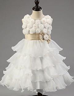 ieftine -rochie cu bile rochie lungime floare fată rochie - organza fără mâneci gât de bijuterie cu flori de mii