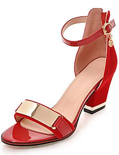 Kadın Sandaletler Kulüp Ayakkabı Yapay Deri Bahar Yaz Sonbahar Günlük Parti ve Gece Elbise Kulüp Ayakkabı Metalik Burun FermuarKalın