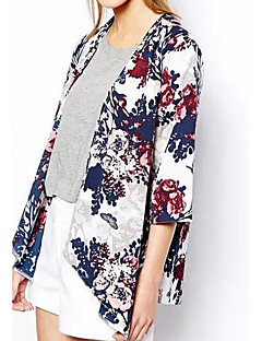 cheap -Women's Daily Weekend Simple Casual Summer Fall Regular Jacket, Floral Round Neck Cotton