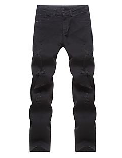 billige Herrebukser og -shorts-Herre Bomull Rett Bedrift Chinos Jeans Bukser Ensfarget