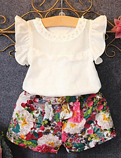 cheap Girls' Clothing-Girls' Daily Clothing Set, Cotton Polyester Summer Short Sleeves Floral Ruffle White
