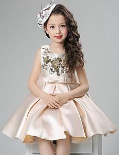 Χαμηλού Κόστους Πώληση-Κορίτσια Φόρεμα Πολυεστέρας Μονόχρωμο Καλοκαίρι Αμάνικο Φιόγκος Δαντέλα Ρουμπίνι Μπεζ