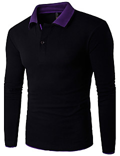 お買い得  メンズポロシャツ-男性用 ワーク プラスサイズ Polo 活発的 シャツカラー スリム カラーブロック コットン リネン