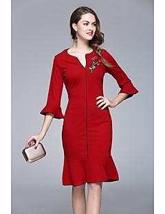 Χαμηλού Κόστους ZRANFANG-Γυναικεία Χαριτωμένο Κομψό στυλ street Εφαρμοστό Φόρεμα - Φλοράλ Ως το Γόνατο