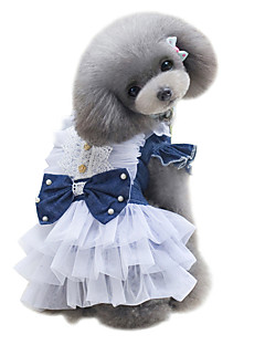 お買い得  犬用ウェア-犬 ドレス 犬用ウェア ブリティッシュ ダークブルー ライトブルー デニム コスチューム ペット用 女性用 クラシック キュート ファッション