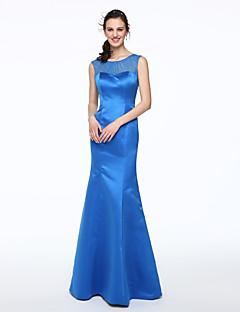 tanie Królewski błękit-Syrena Wycięcie Sięgająca podłoża Satyna Sukienka dla druhny z Plisy przez LAN TING BRIDE®