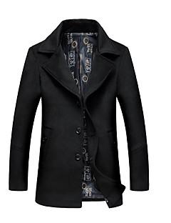 billige Lagersalg-Bomull Normal Langt Erme,Skjortekrage Trenchcoat Geometrisk Vinter Vintage Daglig Herre