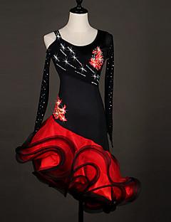 Latein-Tanz Kleider Damen Vorstellung Elastan Organza Rüschen Farbaufsatz Farbeinheit 1 Stück Lange Ärmel Normal Kleid